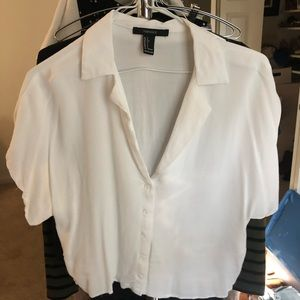 F21 white button down cropped small